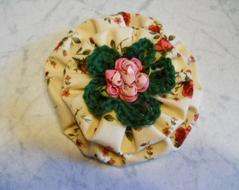 Fabric Flower with Crochet Green Flower and Ribbon Rose Center, Flower Pin, Flower Brooch, Fashion Accessory
