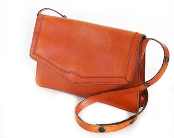 Tawny, French Vintage, 1970s Tan Leather Satchel Handbag, from Paris