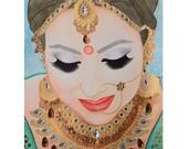 Beautiful Sikh Bride - Mixed Media Art - ART PRINT - 8 x 10 - By Toronto Portrait Artist Malinda Prudhomme