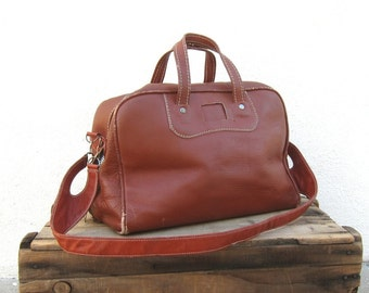 SALE 70s Duffle Satchel Bowling Bag Rugged Wine Travel Bag
