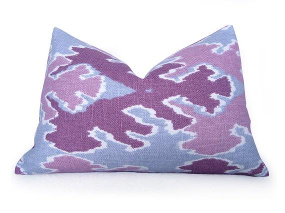 Bengal Bazaar Pillow Cover - Kelly Wearstler Lee Jofa - Magenta - Lumbar - Ikat Pillow - Purple - Pink - Slate - Lumbar Pillow - Cushion