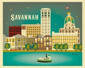Savannah Print, Savannah GA Skyline,  Georgia Wall Art, Savannah horizontal art, Savannah Digital Art, Savannah GA City Art - style E8-O-SAV