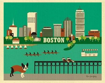 Boston Art Print skyline, Boston Artwork, Boston Terrier Print, Boston nursery art, Boston Wall Art, Boston map, Boston MA - style E8-O-BOS