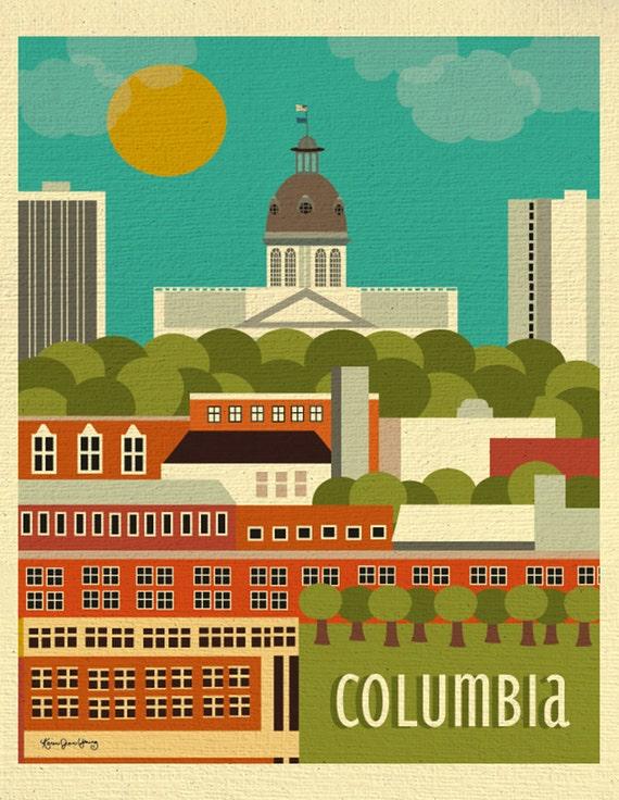 Columbia SC Skyline Print, Columbia sc art, Columbia SC Capitol Wall Art, sc Wedding Baby Gift, Loose Petals City Art Print, style E8-O-COLU
