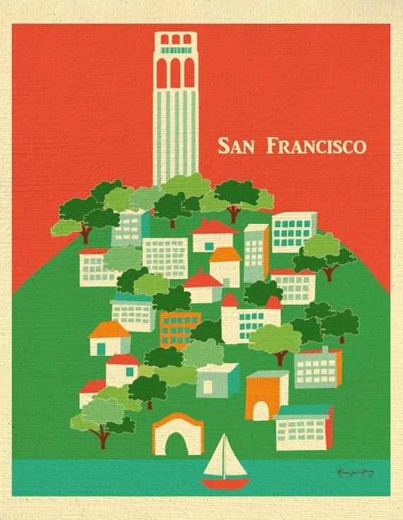 San Francisco Art Print, San Francisco Skyline Print, San Francisco Wall Art, SF North Beach, Coit Tower Print, Loose Petals style E8-O-SF6