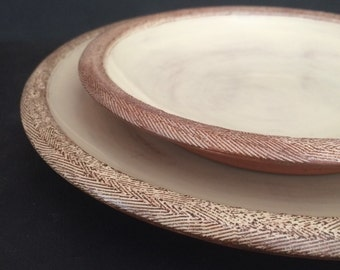 MADE TO ORDER // Simple and Timeless Plate Set - dinner and lunch // hand thrown, with textured edge //