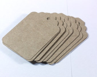5, 25, 50, 100 Kraft Extra Large Gift Tags - choose your quantity - Handpunched hang tags - 3 inch tags - retail tags - card stock