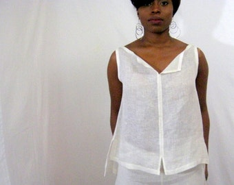 White Top, White Linen Top, Handkerchief  Linen Top, Asymmetrical Top, Cool, Summer, Bateau Neckline, Elongated Back, Below Waist, Slits