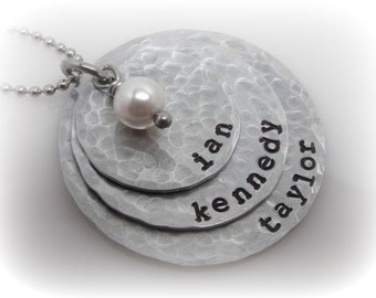 Hand Stamped Necklace Mom of Three 3 Stacked Rustic Hammered Discs Handstamped Jewelry