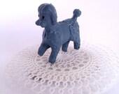 Mardi gras costume.  Blue Poodle Hair clip.  Vintage poodle toy.  Vintage plastic doily.  Unique bride accessory.