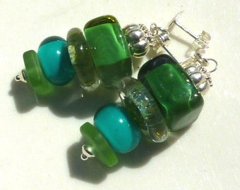 Lampwork Earrings, EMERALD ISLE