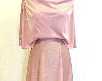 vintage draped maxidress - 1970s Celyce Designs stretch jersey pink long dress