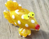 White Spotted Yellow Fish Handmade SRA Lampwork Glass Bead NLC Beads leteam