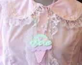 Pop Kei Double Scoop Ice Cream Necklace Pastels  Mint x Lavender x Pink