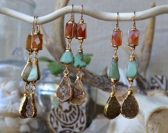 Gemstone Earrings /// Druzy, Chrysoprase, Carnelian /// Bohemian Jewelry