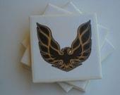 Pontiac firebird on a ceramic tile coaster