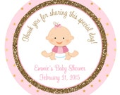 Pink and gold Baby Shower Sticker Baby girl personalized sticker --  baby shower favor tag