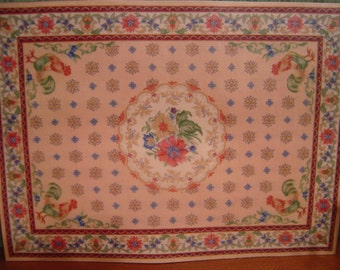 Floor cloth floral rooster dollhouse miniature 1:12 scale