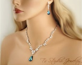 Bridal CZ Cubic Zirconia and Blue Crystal Wedding Necklace and Earring Set - Available in several colors - EVELYN