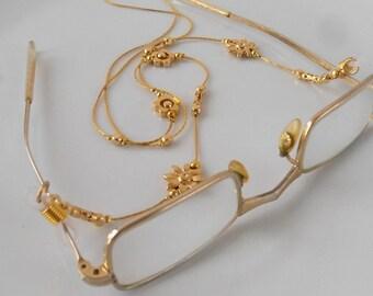 Handmade Gold Eyeglass Holder, Gold Eyeglass Chain Necklace, Gold Lanyard, Gift For Mom,sunglasses, gift for sister, Israeli Handmade,