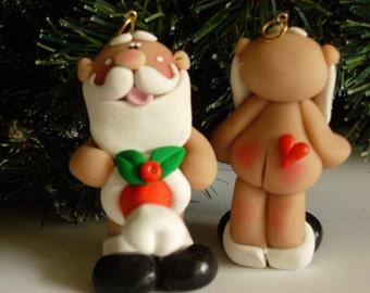 "FREE SHIPPING! Polymer Clay Naked ""Happy Santa"" - ORNAMENT Helen Terlalis Dorn Clay Babies whimsical Christmas conversation starter Santa"