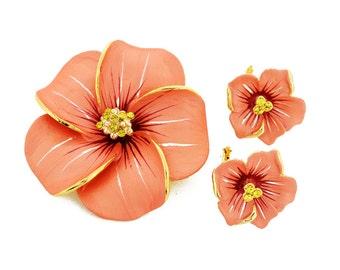 White Hawaiian Plumeria Flower Brooch And Earrings Gift Set 4000011