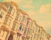 San Francisco photography, architecture photograph, pastel Victorian houses, candy color, pink blue, California, travel photo art print