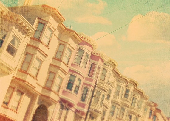 San Francisco photography, California baby nursery art, pastel decor, architecture print, travel photo, blue, pink, 16x20, 8x10 print