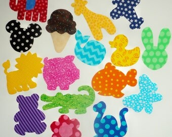 Custom DELUX 16 Pc Iron On Baby Applique Assortment...BOY GIRL Mix...Great For Baby Shower Onesie Making Station /Quilts/Onesies