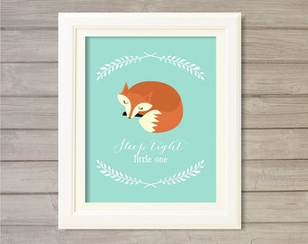 Sleep Tight Little One Nursery Wall Art Printable Fox Woodland Turquoise Blue - 8x10- Instant Download Print Forest Baby Girls Room Decor