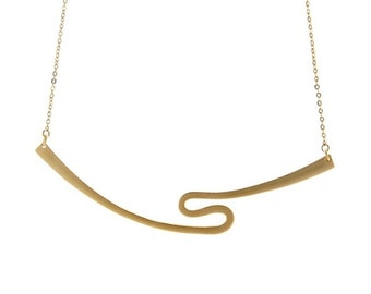 Curve Necklace 14k Gold Necklace Delicate Gold Necklace Minimalist Jewelry Modern Jewelry Gold