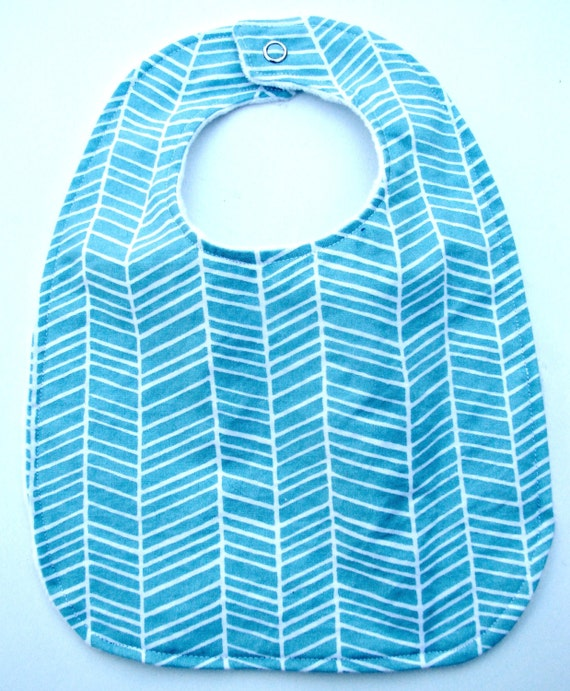 Reversible Baby Bib Blue Herringbone