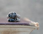 Rustic Rings Primitive Design Linen Crochet Black Onyx, Stacking Ring Set of 2