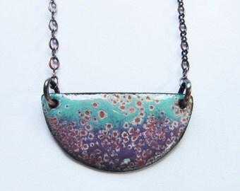 Aqua purple enamel necklace Layering crescent moon pendant Bohemian enameled jewelry Boho necklace Long pendant