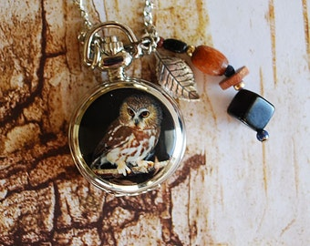 Ladies Owl Pocket Watch Necklace with Vintage Dangles