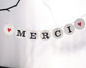 MERCI banner // wedding banner, garland decoration, photo prop, thank you banner by renna deluxe
