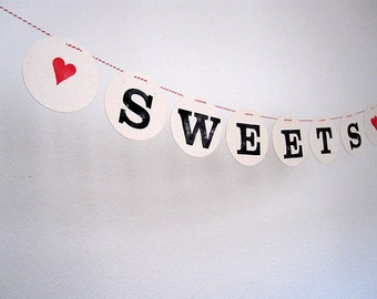 SWEETS banner  // Wedding banner, decoration, Sweet table bunting for Wedding by renna deluxe