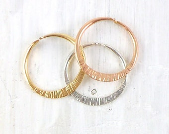 Gold and Silver Tall Textured Stacking Ring, Radiant Open Ring