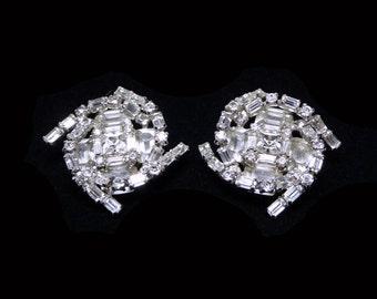 Kramer of New York Vintage Rhinestone Earrings - Clip Ons - Clear Baguettes