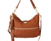 FREE SHIPPING. Tobacco Color Faux Leather Hobo Bag. Cross Body Purse. Shoulder Bag. Everyday Handbag. Work / School Bag. Valentina Bag