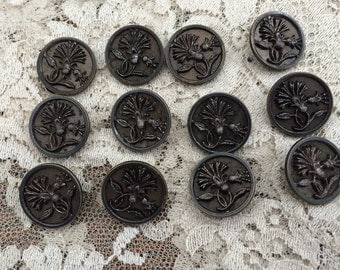 Antique Buttons 12 Stamped Metal Buttons Art Nouveau Floral Pattern Collectible Buttons Historical Reenactment Costume Design