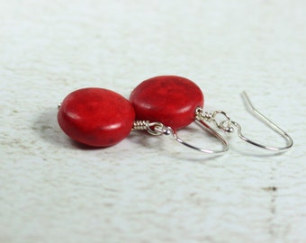 Red Earrings, Red Jewelry, Red Disc Earrings, Red Stone Earrings, Gift For Her, Red And Silver Earrings, Everyday Earrings, Ask Questions
