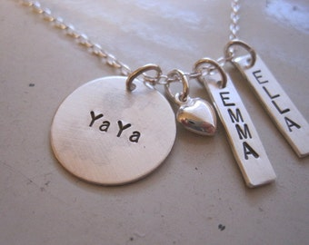 Ya Ya, Auntie, Mom etc sterling silver stamped necklace with children niece or nephews names