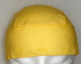 Handmade, Yellow Skull Cap or Chemo Cap, Hats, Hair Loss, Bald, Do Rag, Head Wrap, Bandana, Head Cover, Helmet Liner, Motorcycle, Alopecia
