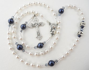 Tiny White and Navy Blue Pearl Personalized Baptism Rosary for a Baby Boy