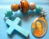 Chaplet Rosary 3 Hail Mary's Pocket size Guadalupe Includes patch