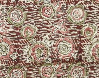 Hand Printed Cotton Fabric - Pink Green and Beige Floral Kalamkari Print - 0.75 yard - ctsm113