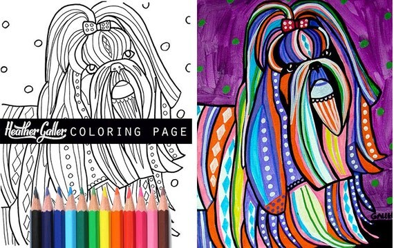 huge sale shih tzu coloring book pages dog adult coloring book coloring pages adult coloring pages coloring book for adults printable - Shih Tzu Coloring Pages