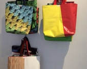 Upcycled Gallery Tote Bag Color Blocked Red & Yellow