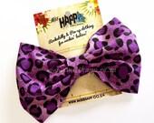 Purple Leopard Hair Bow Clip
